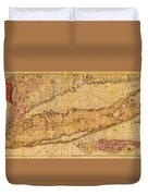 Map Of Long Island New York State In 1842 On Worn Distressed Canvas  Duvet Cover