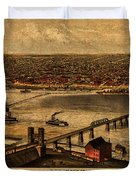 Map Of Louisville Kentucky Vintage Birds Eye View Aerial Schematic On Old Distressed Canvas Duvet Cover