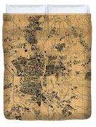 Map Of Madrid Spain Vintage Street Map Schematic Circa 1943 On Old Worn Parchment  Duvet Cover