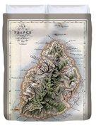 Map Of Mauritius Duvet Cover