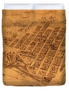 Map Of Minneapolis Minnesota Vintage Birds Eye View Aerial Schematic On Old Distressed Canvas Duvet Cover