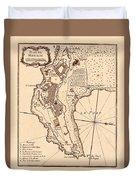 Map Of Monaco 1764 Duvet Cover