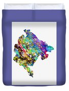 Map Of Montenegro-colorful Duvet Cover