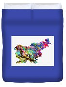 Map Of Slovenia-colorful Duvet Cover