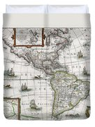 Map Of The Americas Duvet Cover by Henricus Hondius
