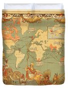 Map Of The Extent Of The British Empire 1886  Duvet Cover