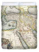 Map Of The Middle East From The Sixteenth Century Duvet Cover by Abraham Ortelius