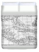 Map Of The West Indies Florida And South America Duvet Cover by English School