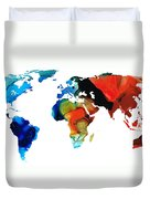 Map Of The World 3 -colorful Abstract Art Duvet Cover