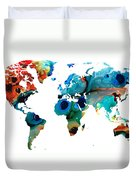 Map Of The World 6 -colorful Abstract Art Duvet Cover