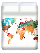 Map Of The World 7 -colorful Abstract Art Duvet Cover