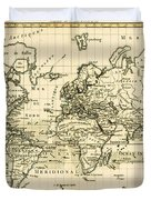 Map Of The World Using The Mercator Projection Duvet Cover