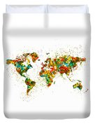 Map Of The World Watercolor Duvet Cover