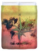 Map Of The World Wind Rose 1 Duvet Cover