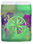 Map Of The World Wind Rose 3 Duvet Cover