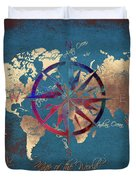 Map Of The World Wind Rose 4 Duvet Cover