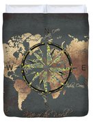 Map Of The World Wind Rose 5 Duvet Cover