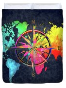 Map Of The World Wind Rose 6 Duvet Cover
