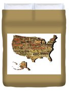 Map Of Usa And Wall. Duvet Cover
