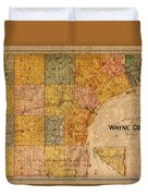 Map Of Wayne County Michigan Detroit Area Vintage Circa 1893 On Worn Distressed Canvas  Duvet Cover