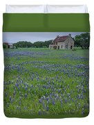 Marble Falls Texas Stone House And Bluebonnets Duvet Cover