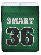 Marcus Smart Boston Celtics Number 36 Retro Vintage Jersey Closeup Graphic Design Duvet Cover