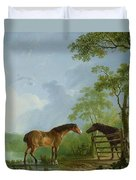 Mare And Stallion In A Landscape Duvet Cover by Sawrey Gilpin