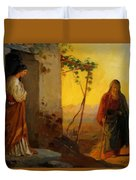 Maria Sister Of Lazarus Meets Jesus Who Is Going To Their House Duvet Cover