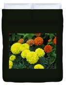 Marigold And Zinnias Duvet Cover