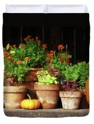 Marigolds And Pumpkins Duvet Cover