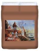 Marikarnika Ghat Varanasi Duvet Cover
