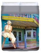 Marilyn Monroe In Front Of Tropic Theatre In Key West Duvet Cover