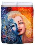 Marilyn Monroe Original Acrylic Palette Knife Painting Duvet Cover