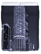 Marina City On The Chicago River In B And W Duvet Cover
