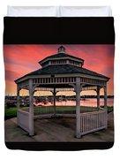 Marina Gazebo Sunset Duvet Cover