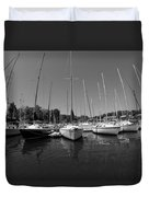 Marina On Lake Murray S C Black And White Duvet Cover