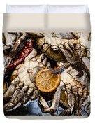 Marinated Fresh Crabs At The Market Duvet Cover