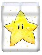 Mario Invincibility Star Watercolor Duvet Cover