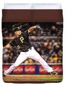 Mark Melancon Baseball Duvet Cover
