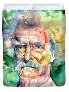 Mark Twain Watercolor Duvet Cover