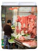 Market Butchery Hong Kong Duvet Cover