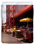 Market Georgetown Guyana Duvet Cover