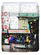 Market In Rain J005 Duvet Cover