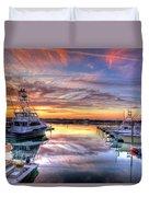 Marlin Quay Marina At Sunset Duvet Cover