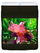 Maroon Iris Flower Duvet Cover