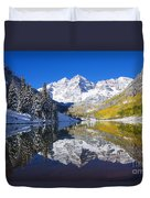 Maroon Lake And Bells 1 Duvet Cover