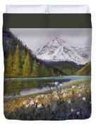 Maroon Lake Duvet Cover