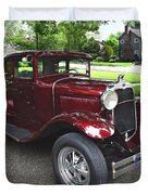 Maroon Vintage Car Duvet Cover