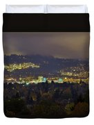 Marquam Hill And Portland Bridges At Night Duvet Cover