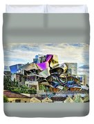 marques de riscal Hotel at sunset - frank gehry - vintage version Duvet Cover